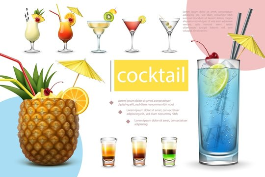 Realistic Summer Cocktails Collection