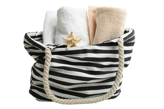 striped beach bag with terry beach towels