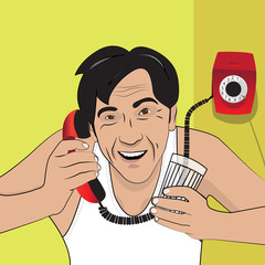 Vector illustration with a man talking on the phone. Retro style.