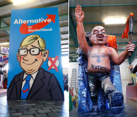 A combination of two pictures showing the front (L) and backside of a carnival float depicting Germany's right wing party Alternative fur Deutschland (AFD) is photographed during the presentation of the floats for the upcoming Rose Monday parade in Main