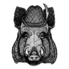 Aper, boar, hog, wild boar wearing traditional bavarian tirol hat. Oktoberfest.
