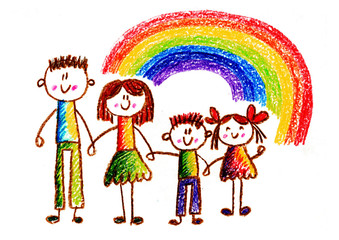 Kids drawing Happy family holding hands Mother, father, sister, brother Happy mom and dad with son and daughter Children illustration with happy couple, kids, parents Rainbow