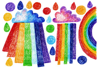 Cartoo rainbow child drawing doodle set drops rain