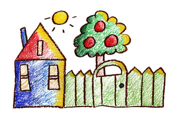 kids drawing Village house summer trees bushes