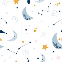 Seamless childish pattern with starry sky, moon. Creative kids texture for fabric, wrapping, textile, wallpaper, apparel. Vector illustration