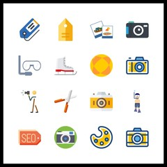 16 hobby icon. Vector illustration hobby set. aqualung and pruners icons for hobby works