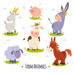 A large set of animals and birds with a farm in a cartoon style. Flat vector illustration isolated on white background. Cow, sheep, goat, chicken, hen, pig, horse, donkey