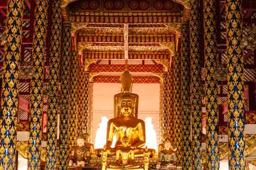 The golden buddha statue at Wat Suan Dok (Royal monastery) in Chiangmai, Thailand.