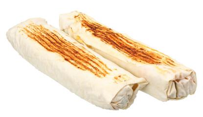 shawarma isolated on white background. fast food