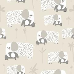Modèle sans couture avec maman mignonne et bébé éléphant. Texture enfantine créative. Idéal pour le tissu, textile Vector Illustration