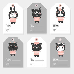 Great set of animals holiday Christmas tags with cartoon characters. Black and white vector farm animals: sheep, kitten, puppy, mouse, rabbit, hamster