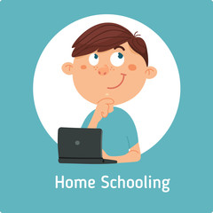 The boy with the computer, working and learning at home. Online communication and education. Vector illustration in flat style
