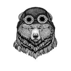 Cute animal wearing motorcycle, aviator helmet Grizzly bear Big wild bear Hand drawn image for tattoo, t-shirt, emblem, badge, logo, patch