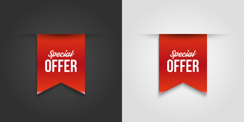 Red special offer banner with shadow on white and dark background. Can be used with any background. Vector illustration.