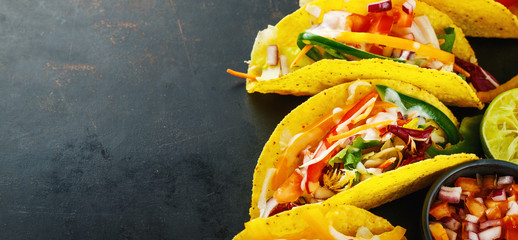 Tasty appetizing tacos with vegetables Wall mural