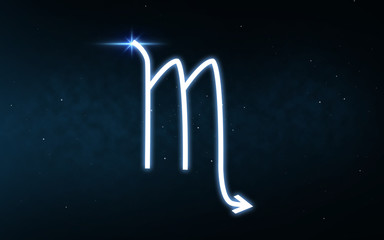 astrology and horoscope - scorpio sign of zodiac over dark night sky and stars background