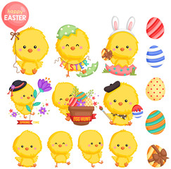 an Easter theme chicken with many poses