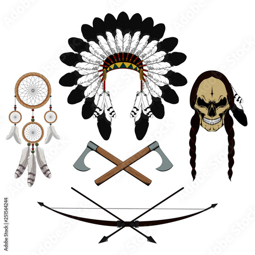 Set of vector images skull of an Indian, axes, dream catcher