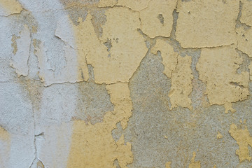 Poster de jardin Vieux mur texturé sale old peeling yellow painted wall texture background