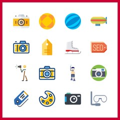 16 hobby icon. Vector illustration hobby set. zeppelin and tag icons for hobby works