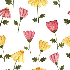 seamless pattern. floral watercolor background