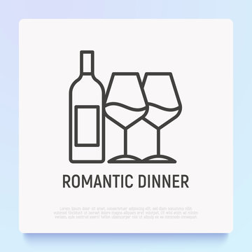 Wine bottle and two glasses thin line icon. Romantic dinner. Modern vector illustration.
