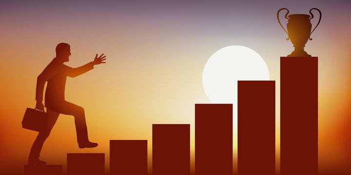 Concept de l'ambition et de la conquête du pouvoir, avec l'ascension d'un homme d'affaires qui monte un escalier en courant, pour atteindre la place convoitée de leader, symbolisé par un trophée.