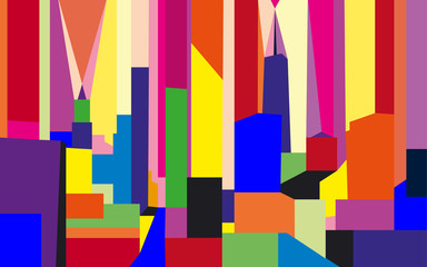 Abstract cityscape of New York, United States. Colorful geometric figures.
