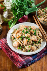 Fried rice with shrimp and vegetables served on a plate