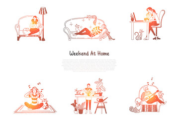 Weekend at home - woman reading and having rest on sofa