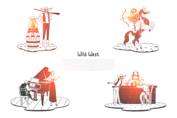 Wild West - Indian with archery on horse, hunter with gun, saloon with drinks and tavern with musicians vector concept set