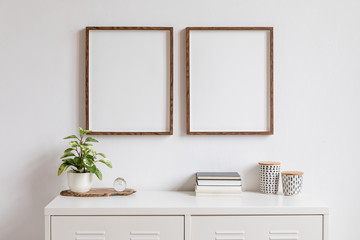 Minimalistic home decor of interior with two brown wooden mock up photo frames on the white shelf with books, beautiful plant in stylish pot and home accessories. White wall.