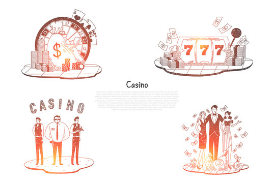 Casino - people with money, security, cards, roulette and chips vector concept sets