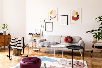 Elegant vintage decor in a spacious flat interior with design grey sofa, armchair, retro commode and posters on the wall. Brwon wooden parquet, stylish carpet and plants. Bright living room.