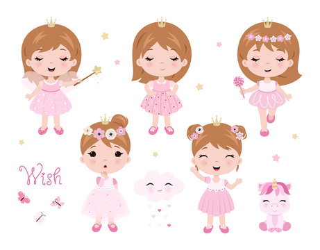 Vector cute little baby girl dressed as princess. Baby princess set. Vector little baby girl with magic wand.