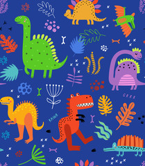 Seamless pattern with dinosaurs and flowers