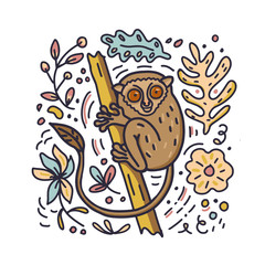 Hand drawn doodle style Philippine Tarsier with flowers and leaves elements. Vector illustration.