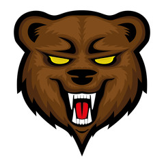 Angry bear sign on a white background.
