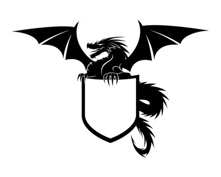 Dragon with shield sign on white background.