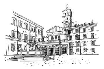 Wall Mural - vector sketch of The Basilica of Santa Maria in Trastevere, Rome, Italy.