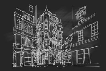 Wall Mural - vector sketch of architecture in Graben street in Vienna, Austria.