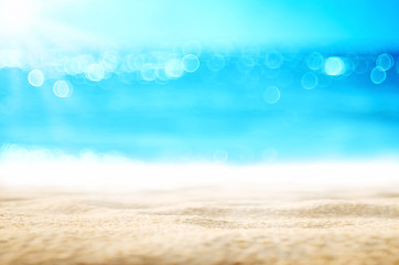 Blur tropical beach with bokeh sun light wave abstract background. Fototapete