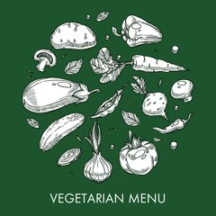 Vegetarian menu vegetable dishes and meals farm or agriculture