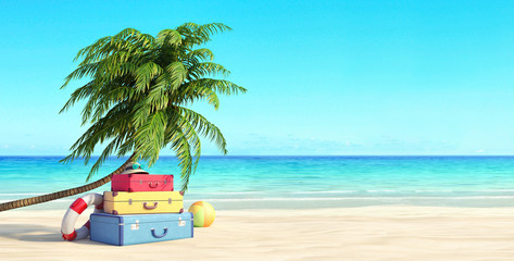 Ready for summer vacation, travel background, Beach with palm tree and suitcases, 3D Render 3D illustration