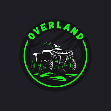 ATV vehicle logo. All-terrain offroad 4x4 quad illustration.