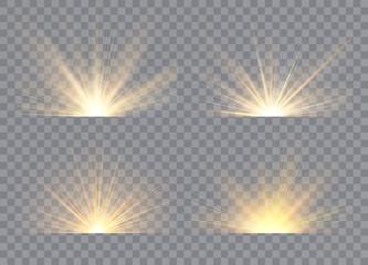 Light effect stars bursts. Sunrise, dawn. Vector transparent sunlight. Concept for illustration template art design, banner for Christmas, celebrate.