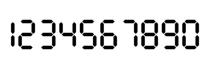 Black digital numbers. Seven-segment display is used in calculators, digital clocks or electronic meters. Vector illustration
