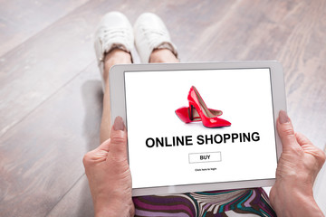 Online shopping concept on a tablet