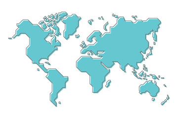 World map with simple modern cartoon line art design - fototapety na wymiar