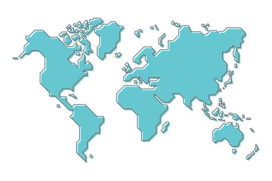 World map with simple modern cartoon line art design